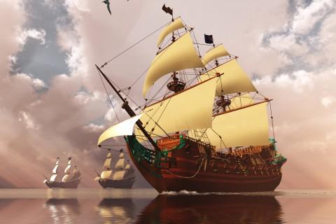 海上前行的帆船