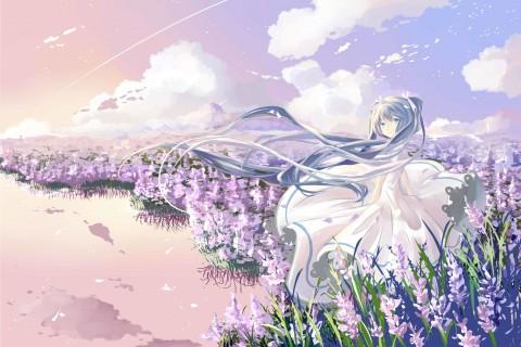花丛里的唯美女孩