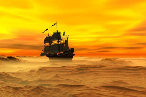 困难中前行的帆船
