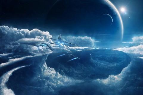浩瀚星球里的飞船