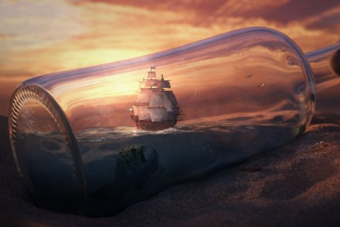 漂流瓶中的帆船