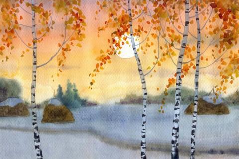 水彩秋天风景