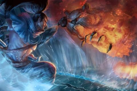 英雄联盟亚索与安妮战斗