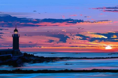夕阳下的美丽灯塔