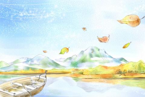 手绘湖景小舟