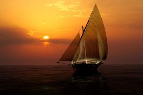 海面上的帆船
