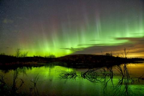 美丽的绿色极光