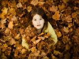 枫叶中的小女孩