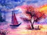 美丽的水彩风景