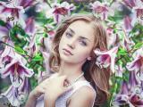 花丛中的欧美美女
