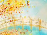 秋天落叶水彩画