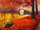 深秋风景油画