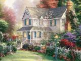 唯美别墅油画