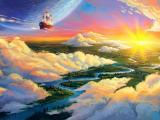 夕阳中遨游的帆船
