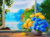 窗台的美丽插花